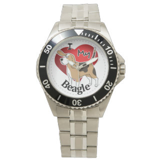 I Love My Happy Adorable Funny & Cute Beagle Dog Wrist Watches