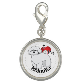 I Love My Happy Adorable Funny & Cute Bolonka Dog Photo Charms