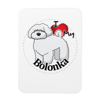 I Love My Happy Adorable Funny & Cute Bolonka Dog Rectangular Photo Magnet