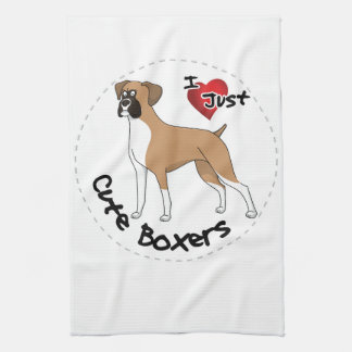 I Love My Happy Adorable Funny & Cute Boxer Dog Kitchen Towel