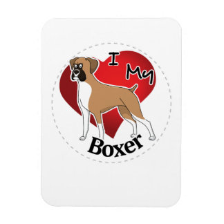 I Love My Happy Adorable Funny & Cute Boxer Dog Magnet