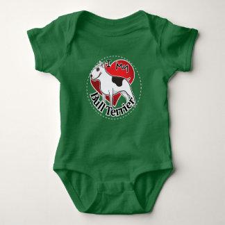 I Love My Happy Adorable Funny & Cute Bull Terrier Baby Bodysuit