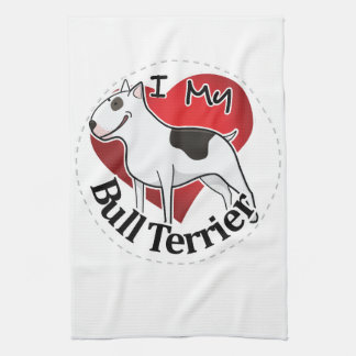 I Love My Happy Adorable Funny & Cute Bull Terrier Kitchen Towel