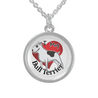 I Love My Happy Adorable Funny & Cute Bull Terrier Sterling Silver Necklace