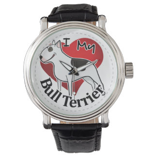 I Love My Happy Adorable Funny & Cute Bull Terrier Watch