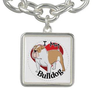 I Love My Happy Adorable Funny & Cute Bulldog Dog Charm Bracelets