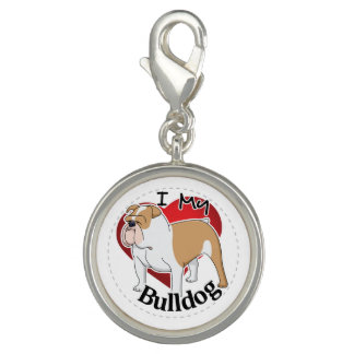 I Love My Happy Adorable Funny & Cute Bulldog Dog Charms