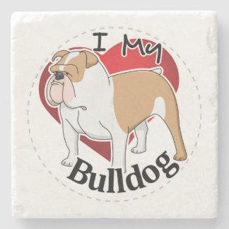 I Love My Happy Adorable Funny & Cute Bulldog Dog Stone Coaster