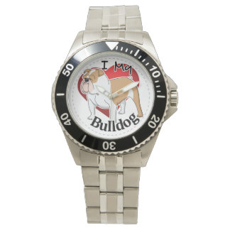 I Love My Happy Adorable Funny & Cute Bulldog Dog Watch