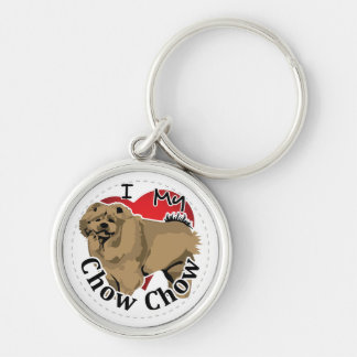 I Love My Happy Adorable Funny & Cute Chow Chow Silver-Colored Round Keychain