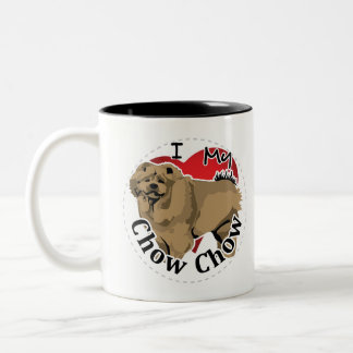 I Love My Happy Adorable Funny & Cute Chow Chow Two-Tone Coffee Mug