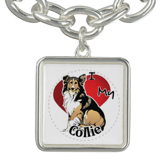 I Love My Happy Adorable Funny & Cute Collie Dog Charm Bracelet
