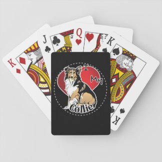 I Love My Happy Adorable Funny & Cute Collie Dog Playing Cards