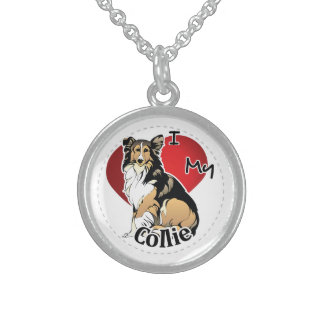 I Love My Happy Adorable Funny & Cute Collie Dog Sterling Silver Necklace