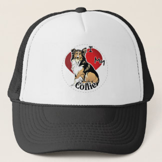 I Love My Happy Adorable Funny & Cute Collie Dog Trucker Hat