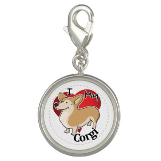 I Love My Happy Adorable Funny & Cute Corgi Dog Photo Charm