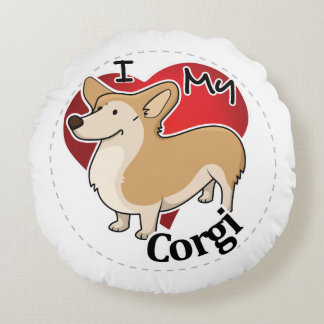 I Love My Happy Adorable Funny & Cute Corgi Dog Round Pillow