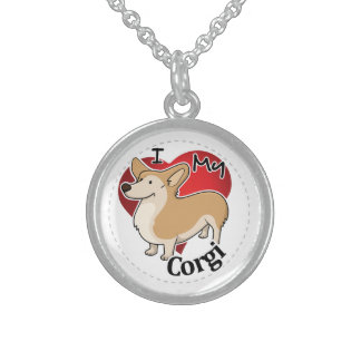 I Love My Happy Adorable Funny & Cute Corgi Dog Sterling Silver Necklace