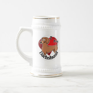 I Love My Happy Adorable Funny & Cute Dachshund Beer Stein