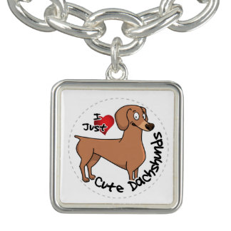 I Love My Happy Adorable Funny & Cute Dachshund Do Charm Bracelet