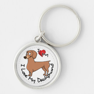 I Love My Happy Adorable Funny & Cute Dachshund Do Silver-Colored Round Keychain