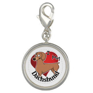 I Love My Happy Adorable Funny & Cute Dachshund Photo Charm