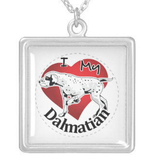 I Love My Happy Adorable Funny & Cute Dalmatian Silver Plated Necklace