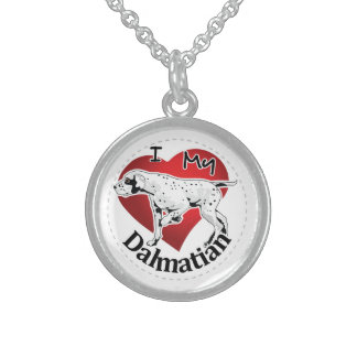 I Love My Happy Adorable Funny & Cute Dalmatian Sterling Silver Necklace
