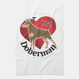I Love My Happy Adorable Funny & Cute Doberman Dog Kitchen Towel