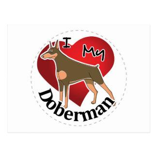 I Love My Happy Adorable Funny & Cute Doberman Dog Postcard