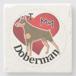 I Love My Happy Adorable Funny & Cute Doberman Dog Stone Coaster