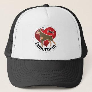I Love My Happy Adorable Funny & Cute Doberman Dog Trucker Hat