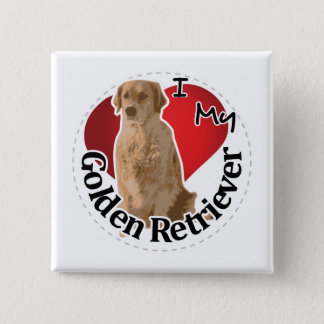 I Love My Happy Adorable Funny & Cute Golden Retri 2 Inch Square Button