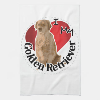 I Love My Happy Adorable Funny & Cute Golden Retri Kitchen Towel