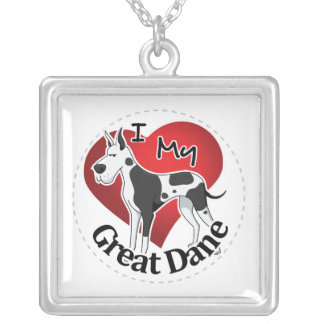 I Love My Happy Adorable Funny & Cute Great Dane Silver Plated Necklace