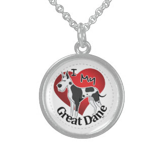 I Love My Happy Adorable Funny & Cute Great Dane Sterling Silver Necklace