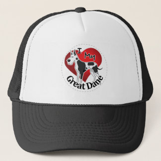 I Love My Happy Adorable Funny & Cute Great Dane Trucker Hat