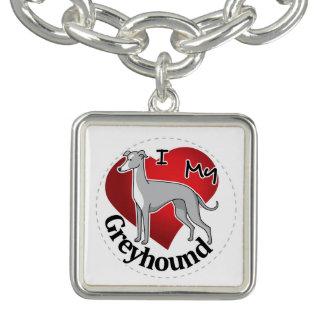 I Love My Happy Adorable Funny & Cute Greyhound Bracelet