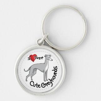 I Love My Happy Adorable Funny & Cute Greyhound Do Keychain