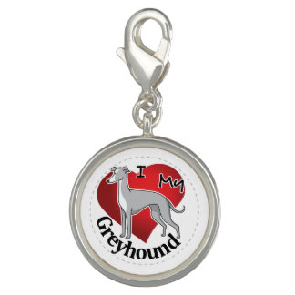 I Love My Happy Adorable Funny & Cute Greyhound Photo Charm