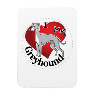 I Love My Happy Adorable Funny & Cute Greyhound Rectangular Photo Magnet