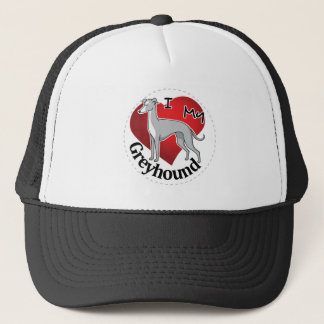 I Love My Happy Adorable Funny & Cute Greyhound Trucker Hat