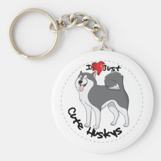 I Love My Happy Adorable Funny & Cute Husky Dog Basic Round Button Keychain