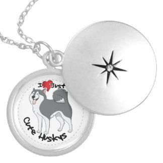 I Love My Happy Adorable Funny & Cute Husky Dog Locket Necklace