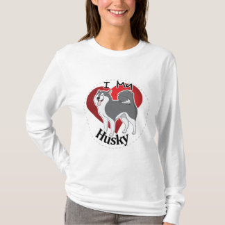 I Love My Happy Adorable Funny & Cute Husky Dog T-Shirt