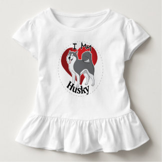 I Love My Happy Adorable Funny & Cute Husky Dog Toddler T-shirt