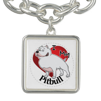 I Love My Happy Adorable Funny & Cute Pitbull Dog Charm Bracelet