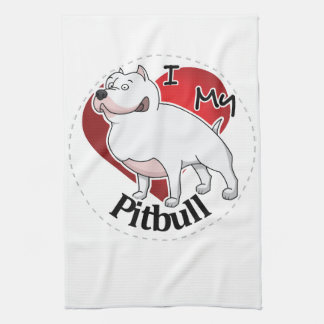 I Love My Happy Adorable Funny & Cute Pitbull Dog Kitchen Towel