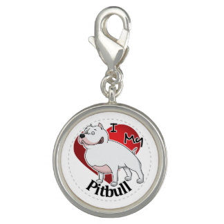 I Love My Happy Adorable Funny & Cute Pitbull Dog Photo Charms