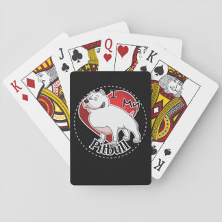 I Love My Happy Adorable Funny & Cute Pitbull Dog Playing Cards